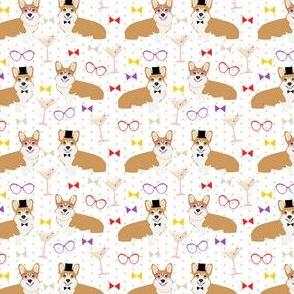 corgi dapper day fabric - cute dogs in glasses, bowties, pearls, retro glasses - retro vintage style