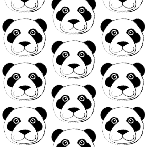 panda bear face fabric by lilcubby on Spoonflower - custom fabric