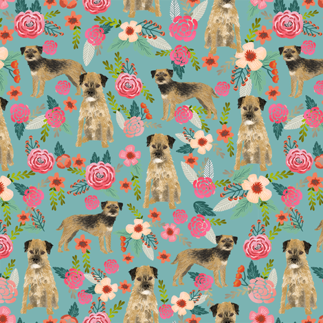 border terrier florals dog breed fabric blue fabric by petfriendly on Spoonflower - custom fabric