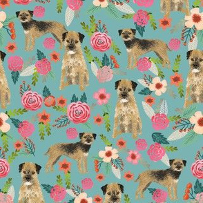 border terrier florals dog breed fabric blue