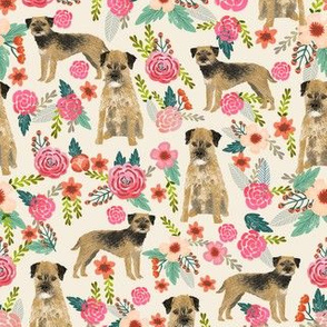 border terrier florals dog breed fabric cream
