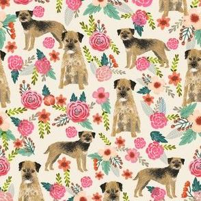 border terrier florals dog breed fabric cream
