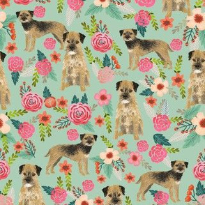 border terrier florals dog breed fabric mint