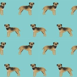 border terrier standing dog breed fabric blue