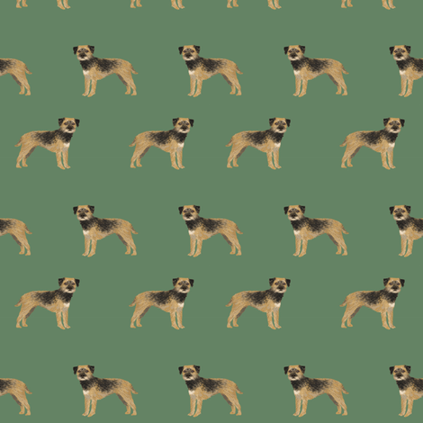 border terrier standing dog breed fabric green fabric by petfriendly on Spoonflower - custom fabric