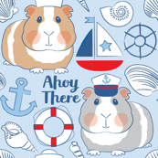 sailor guinea pigs on blue