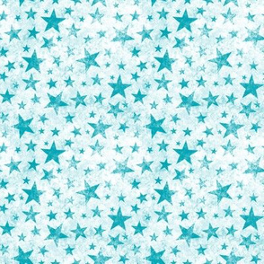 Grunge Distressed Stars Aqua Blue on White Tiny Small