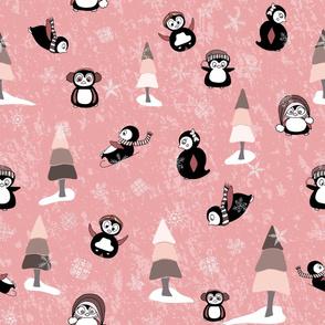 Playful Penguins on Light Pink