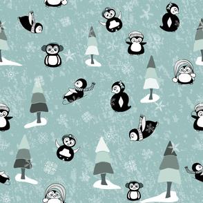 Playful Penguins on Teal