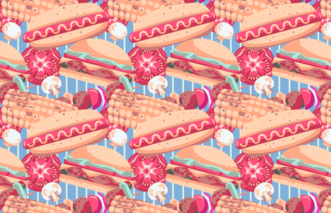 All of the meats! (and veg) fabric by tangolikeamango on Spoonflower - custom fabric