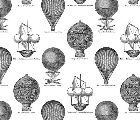 Hot Air Balloons Toile - Black fabric by viktorcraft on Spoonflower - custom fabric
