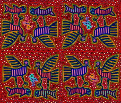 Kuna Indian Folk Art Birds fabric by vagabond_folk_art on Spoonflower - custom fabric