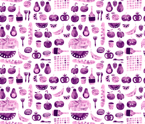 picnic violet fabric by lapinecurieuse on Spoonflower - custom fabric