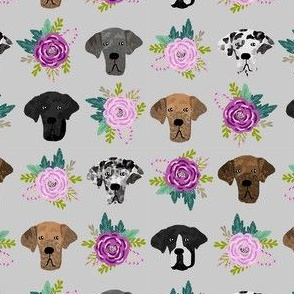 great dane floral fabric - dogs and florals fabric dog head - grey