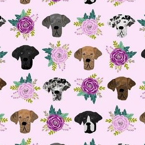 great dane floral fabric - dogs and florals fabric dog head - lavender