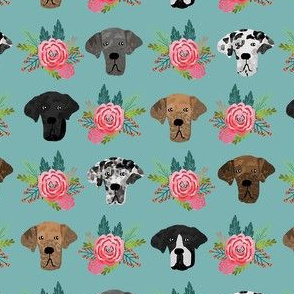 great dane floral fabric - dogs and florals fabric dog head - blue