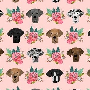 great dane floral fabric - dogs and florals fabric dog head - pink