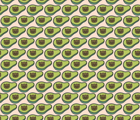 Avogato in Peach Brick fabric by pinkowlet on Spoonflower - custom fabric