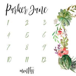 Cactus Succulents Personalized Baby Milestone Blanket