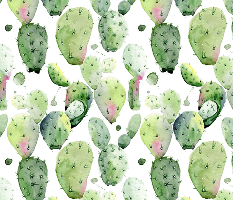 """12"""" Prickly Pear Cactus // White fabric by hipkiddesigns on Spoonflower - custom fabric"""