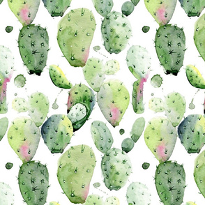 "12"" Prickly Pear Cactus // White"