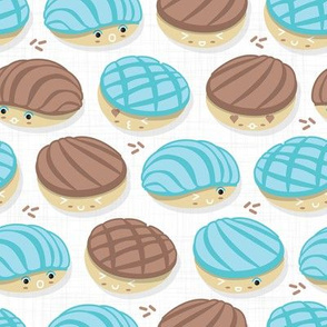 Kawaii Mexican conchas // white background pastel blue & brown shells