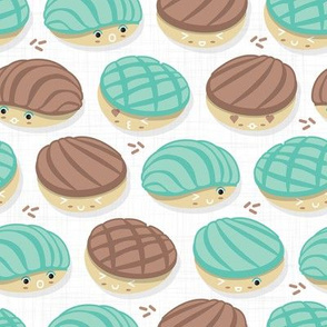 Kawaii Mexican conchas // white background pastel green & brown shells