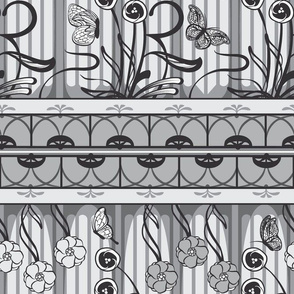 Art Nouveau Monochrome in Gray
