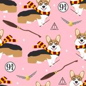 corgi potter fabric - cute dog magic, magic school, wizard fabric - pink