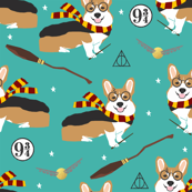 corgi potter fabric - cute dog magic, magic school, wizard fabric - turquoise