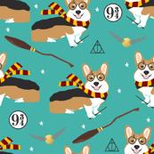 corgi potter fabric - cute dog magic, magic school, wizard fabric - turquoise