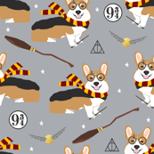 corgi potter fabric - cute dog magic, magic school, wizard fabric - grey