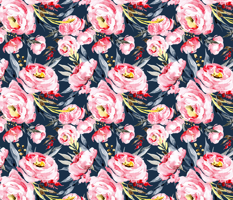Watercolor pink blush peonies on dark navy blue background fabric by graphicsdish on Spoonflower - custom fabric