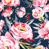 Watercolor pink blush peonies on dark navy blue background