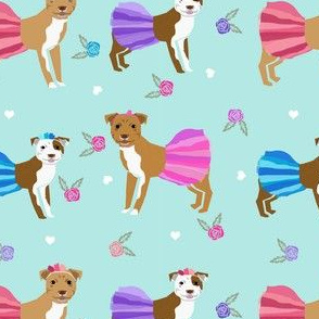 Pitbull tutus fabric - dogs and flowers, tutus, cute girly fabric - mint