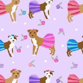 Pitbull tutus fabric - dogs and flowers, tutus, cute girly fabric - purple