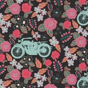 Vintage Motorcycle on Pink & Burnt Sienna Floral // Small