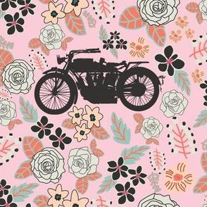 Vintage Motorcycle on Alabaster & Blush Floral // Large