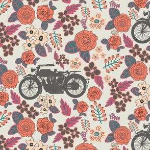 Vintage Motorcycle on Cabaret & Shadow Green Floral // Small
