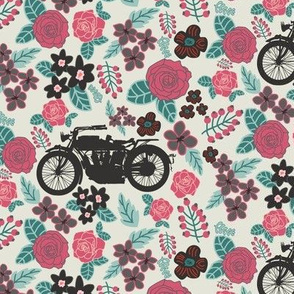 Vintage Motorcycle on Ming Green & Cranberry Floral // Small