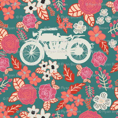 Vintage Motorcycle on Cranberry & Persian Red Floral // Small