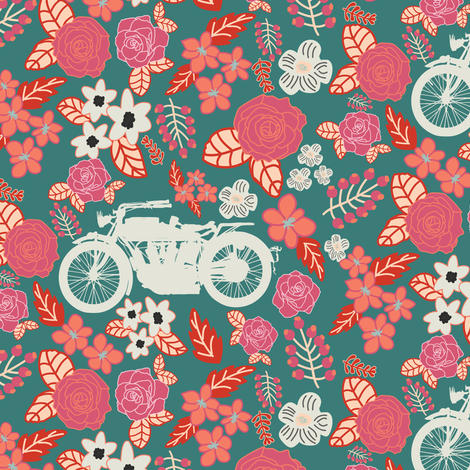Vintage Motorcycle on Cranberry & Persian Red Floral // Small fabric by thinlinetextiles on Spoonflower - custom fabric