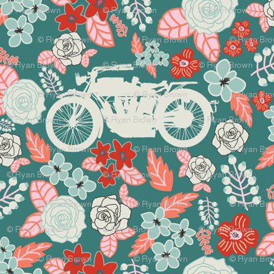 Vintage Motorcycle on Azalea & Morning Glory Floral // Small
