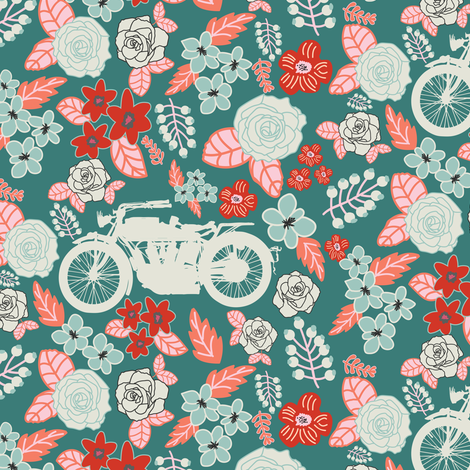 Vintage Motorcycle on Azalea & Morning Glory Floral // Small fabric by thinlinetextiles on Spoonflower - custom fabric