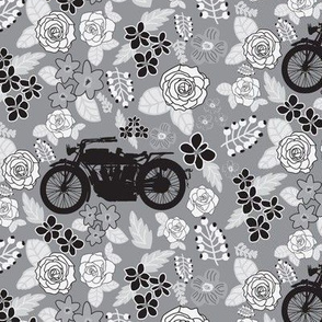 Vintage Motorcycle on Grey Floral // Small