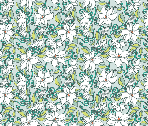 Sky Blue Clematis  fabric by rootandbranchpaper on Spoonflower - custom fabric