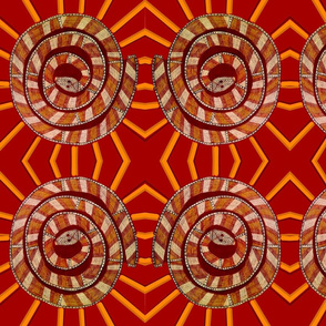 aboriginal snake in red and gold