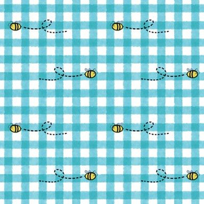 Watercolor Gingham Cyan with Bees