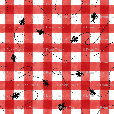 Watercolor Picnic Blanket with Ants