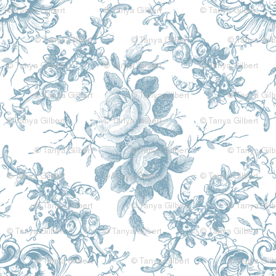 Lady Mary's Roses Blue Toile